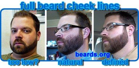 full beard cheek lines: low, natural, defined