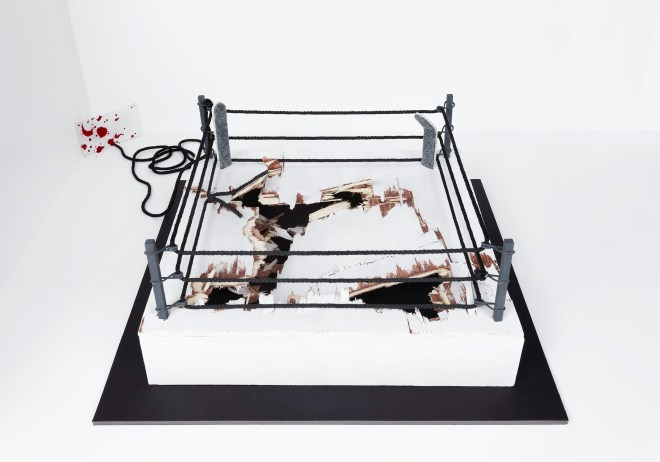 """""""Dedicated to 'Iron' Mike Tyson and all the fighters around him"""", © 2014 Wood, rope, painting, foam and plexiglas ; variable dimensions courtesy the artist"""