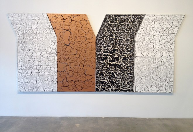 "Ed Moses | Y? Copper, 2013, mixed media on canvas 4 panels 72"" x 45"" each"