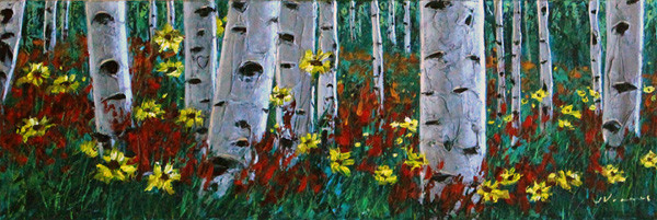 Aspens and Daisies by Jennifer Vranes