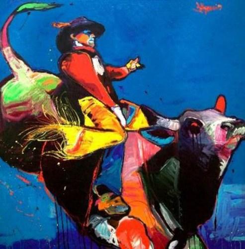 Blue Bull Rider by Jeff Ham