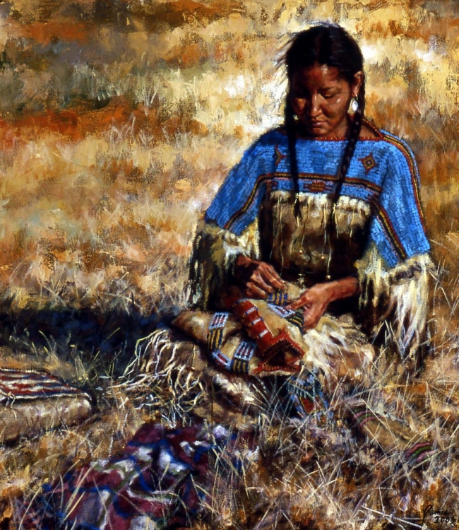Her Busbands Shirt - Lakota by James Ayers