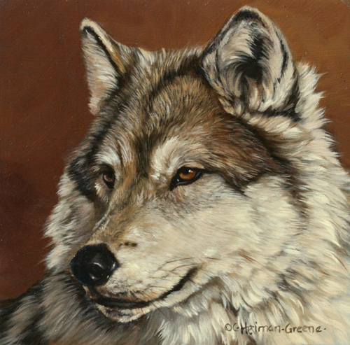 Faces - Gray Wolf by Carol Green Heiman