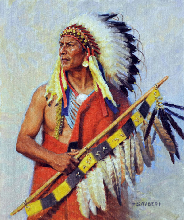 Tom Sauberts War Chief's Flag original art