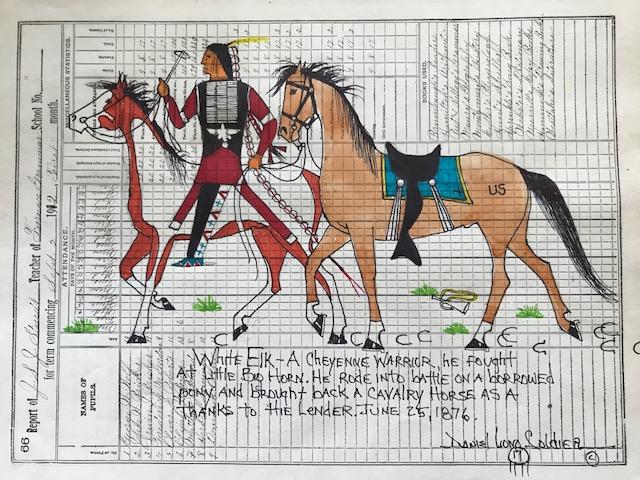 WHITE ELK CAPTURES CALVERY HORSE