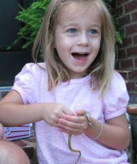 Little girl holding a non-poisonous snake