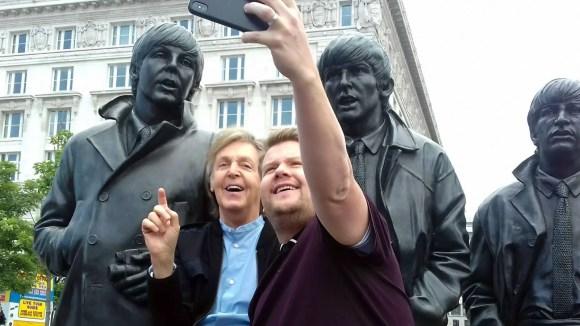 Paul McCartney and James Corden in Liverpool, 9 June 2018