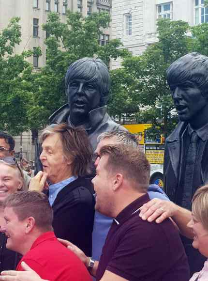 Paul McCartney and James Corden in Liverpool, 9 June 2018