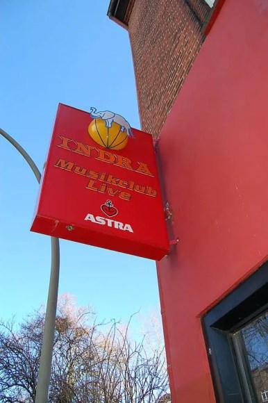Sign outside the Indra Club, Hamburg, 2011