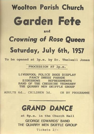 Poster for The Quarrymen at the Woolton Parish Church garden fete, Liverpool, 6 July 1957