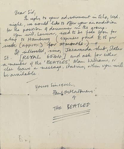 Letter from Paul McCartney to unknown drummer, 12 August 1960