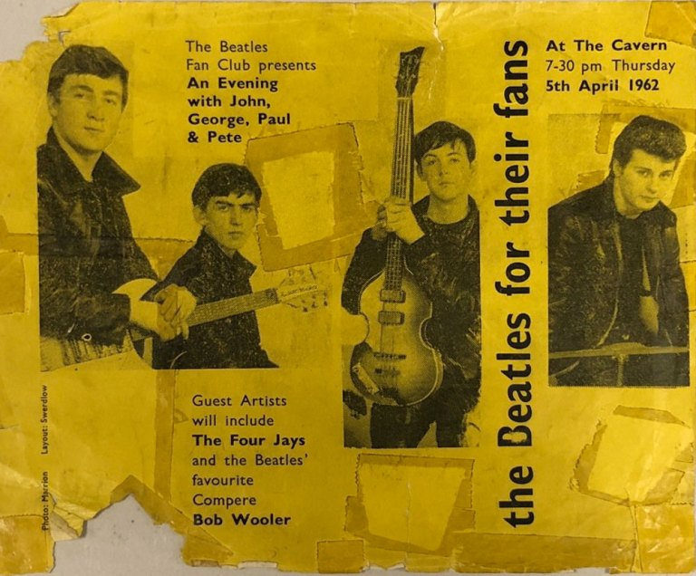 Flyer for The Beatles' fan club show at the Cavern Club, Liverpool, 5 April 1962