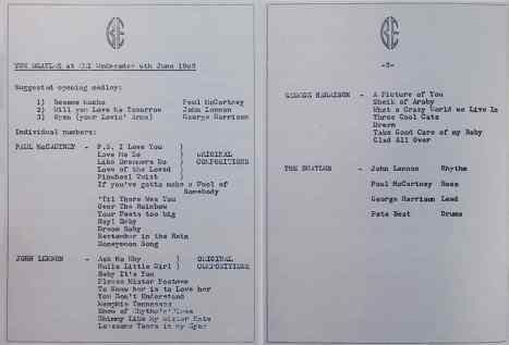 Brian Epstein's list of song suggestions for The Beatles' first EMI recording session on 6 June 1962