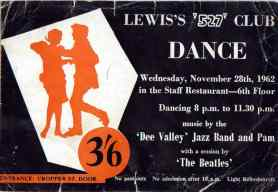 Ticket for The Beatles' concert at the 527 Club in Lewis's, Liverpool, 28 November 1962