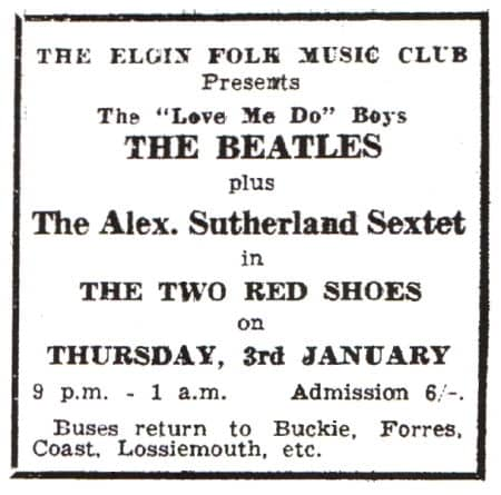 Advertisement for The Beatles at Two Red Shoes Ballroom, Elgin, Scotland, 3 January 1963