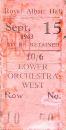 Ticket for the Great Pop Prom, Royal Albert Hall, London, 15 September 1963