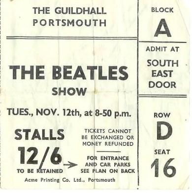 Ticket for The Beatles' Portsmouth concert on 12 November 1963, postponed to 3 December