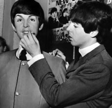 Paul McCartney with his Madame Tussaud's waxwork figure, 29 April 1964