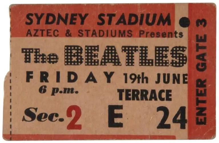 Ticket for The Beatles in Sydney, Australia, 19 June 1964