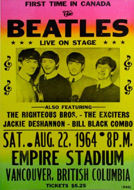 Poster for The Beatles live in Vancouver, Canada, 22 August 1964