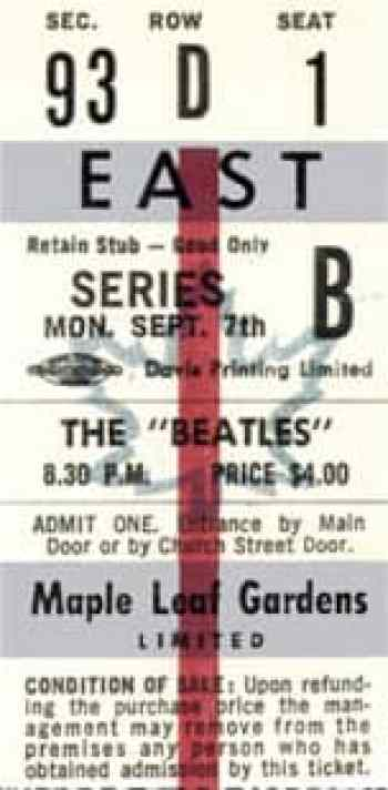 Ticket for The Beatles at Toronto's Maple Leaf Gardens, 7 September 1964