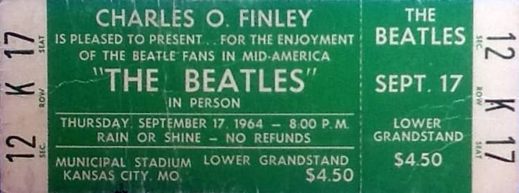 Ticket for The Beatles at Municipal Stadium, Kansas City, 17 September 1964