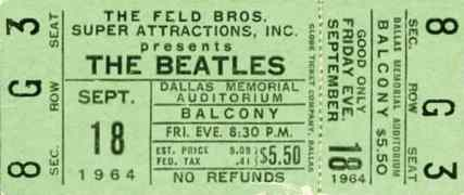 Ticket for The Beatles at the Memorial Auditorium, Dallas, 18 September 1964