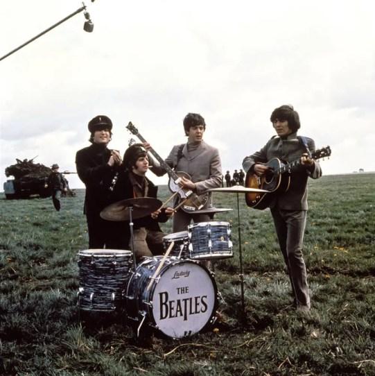 The Beatles filming Help! on Salisbury Plain, May 1965