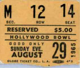 Ticket for The Beatles at the Hollywood Bowl, 29 August 1965