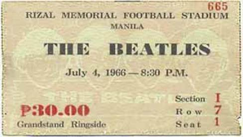 Ticket for The Beatles at Rizal Memorial Football Stadium, Manila, Philippines, 4 July 1966
