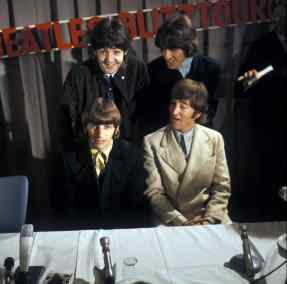 The Beatles at a press conference in Hamburg, Germany, 26 June 1966