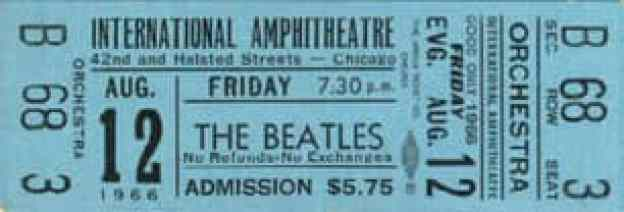 Ticket for The Beatles in Chicago, 12 August 1966