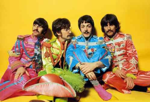 The Beatles in Sgt Pepper uniforms, 1967