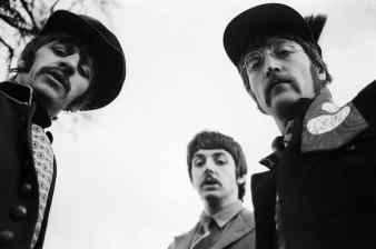 Ringo Starr, Paul McCartney and John Lennon filming the Strawberry Fields Forever promo film, January 1967