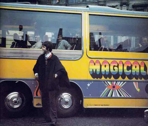Paul McCartney with the Magical Mystery Tour coach, Teignmouth, 11 September 1967
