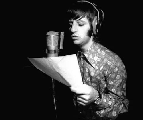 Ringo Starr recording his vocals for Good Night, 1968