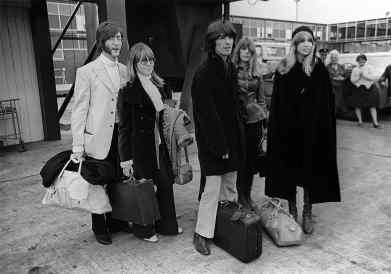John and Cynthia Lennon, George and Pattie Harrison and Jenny Boyd fly to India, 15 February 1968