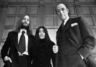 John Lennon, Yoko Ono and Canadian prime minister Pierre Trudeau, 23 December 1969