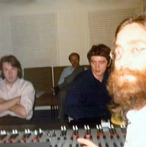 Paul McCartney, George Martin, engineer Phil McDonald and John Lennon, 1969