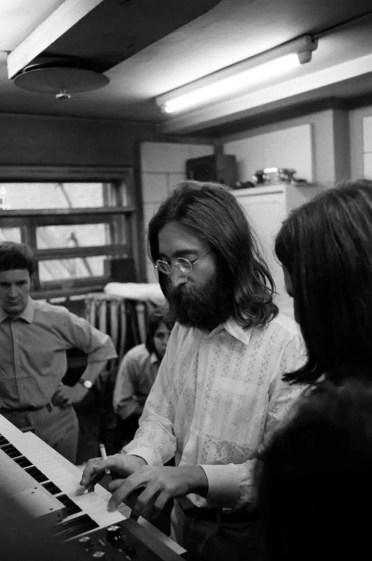 John Lennon playing a Moog synthesiser, 1969