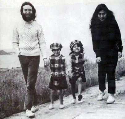 John Lennon, Julian Lennon, Kyoko Cox and Yoko Ono in Scotland, June 1969