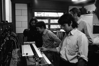 Paul McCartney playing a Moog synthesiser, 1969