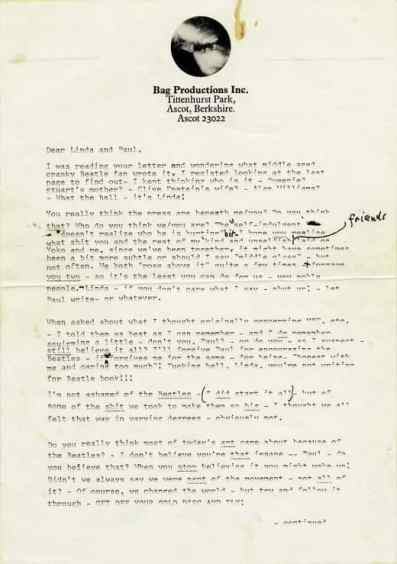Handwritten Lyrics For Lucy In The Sky With Diamonds Sell