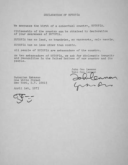 John Lennon and Yoko Ono's Declaration of Nutopia, 1 April 1973