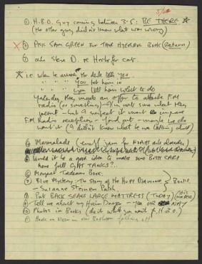 To-do list written by John Lennon, 22 May 1980