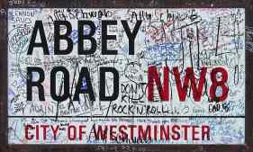 Abbey Road street sign and graffiti