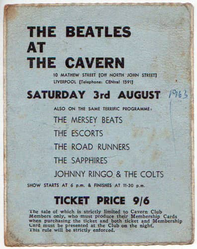 Ticket for The Beatles' final Cavern Club show, 3 August 1963