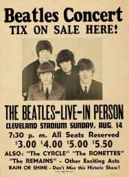 Poster for The Beatles at Cleveland Stadium, 14 August 1966
