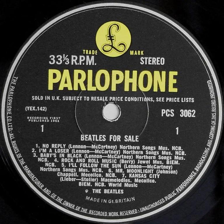 Label for the Beatles For Sale vinyl LP (side 1)