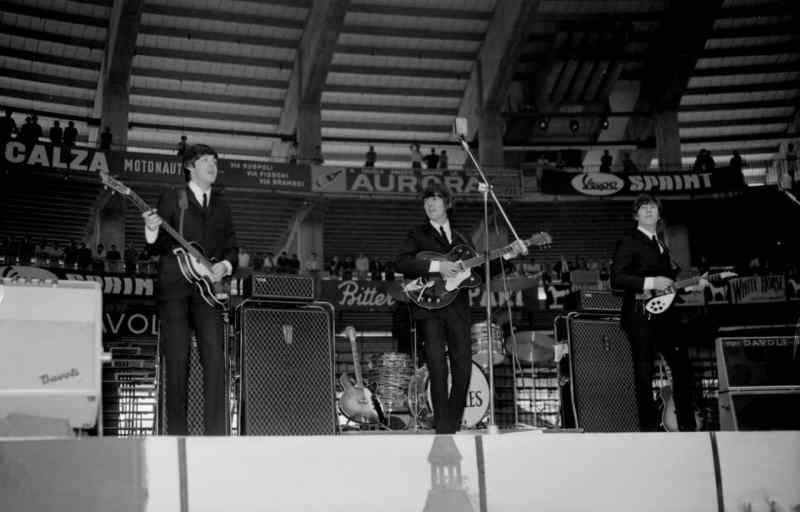 The Beatles on stage in Genoa, Italy, 26 June 1965
